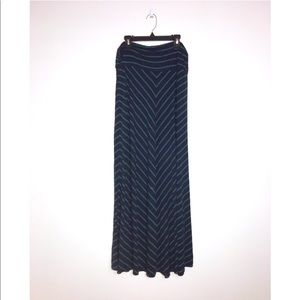 Merona long blue and green stripped flowing skirt